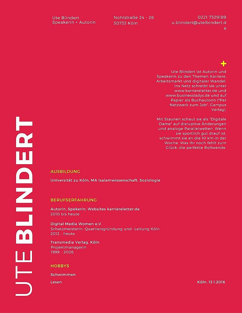 Lebenslauf-Vorlage, roter Hintergrund, erstellt mit Canva
