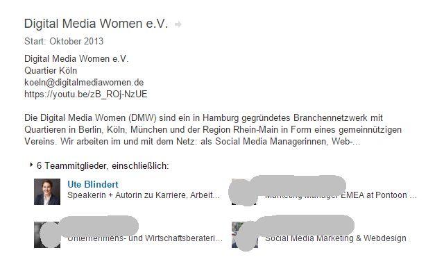 Screenshot: Beispiel für Projekt mit verschiedenen Nutzern bei LinkedIn